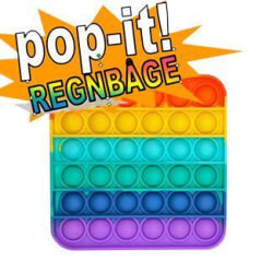 Pop It Fidget Toy Original  - Regnbåge Fyrkantig - CE Godkänd