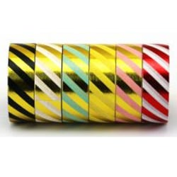 Washitejp 6 rullar metallic stripes Dekoration Scrapbooking