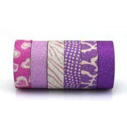 Washitejp 6 st glitter lila toner Dekoration Scrapbooking