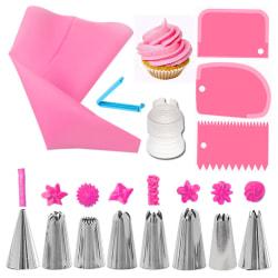Tyllset - 8 Spritstyllar,spritspåse och degskrapa. Flera färger rosa