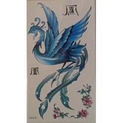 2st Temporär tattoo Phoenix och blomma