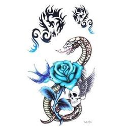 1st Temporär tattoo blå ros