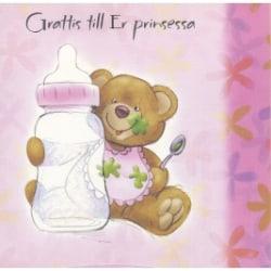Grattis till Prinsessan -dubbelkort med kuvert