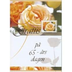 Grattis på 65 årsdagen -dubbelkort med kuvert