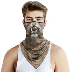 Animal Print Scarf Sun Mask Neck Gaiter Bandana Biker Headband Lion
