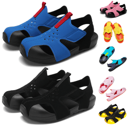 Children boys and girls sandals with Velcro beach shoes Black Yellow,33