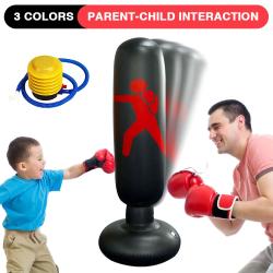 Children Vertical Inflatable Boxing Bag 1.6m Karate Jiu-Jitsu Black
