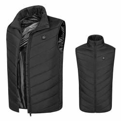 Heated Vest Warm Electric USB Unisex Heating Coat Jacket Winter Black,L