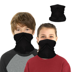 Kids Bandana Outdoors Mask Neck Tube Gaiter Snood Scarf Headwear Black