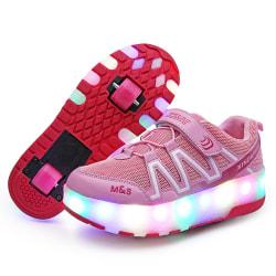 Kids LED Lights Skate Shoes Double Wheels Sneaker Pink,31