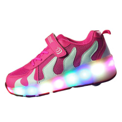 Kids Sneaker Double Wheels LED Lights Skate Shoes Gift Pink,29