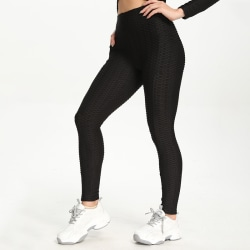 Kvinnor hög midja träning Yoga byxor sport jogging fitness byxor svart,S