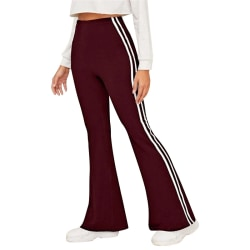 Ladies casual loose yoga striped print mid-rise wide-leg pants Red wine,S