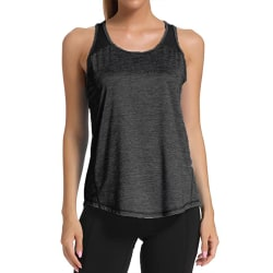 Ladies casual sleeveless mesh stitching yoga fitness T-shirt black,L