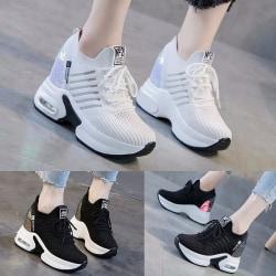 Ladies Fashion Platform Casual Shoes Solid Color Sneakers Black ,37