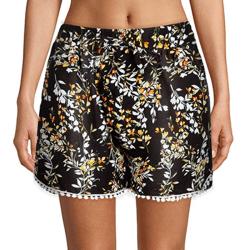 Ladies Girls Shorts Lounge Elasticated Waist Size Summer Beach Black,L