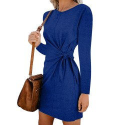 Ladies long sleeve dress casual loose party dress blue,M