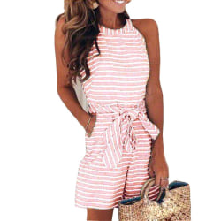 Ladies Striped Printed Sleeveless Jumpsuit Pockets Pink,XL