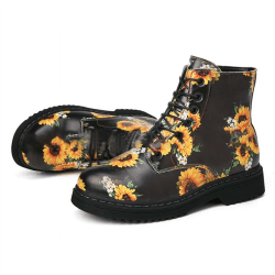 Ladies Sunflower Printed Boots 7 Eyes Casual Lace up Shoes Flat Black,40