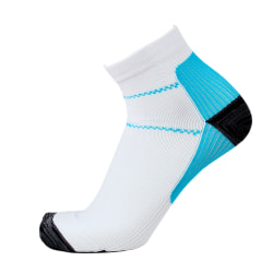 Men and women compression socks running sports socks White Blue,S/M