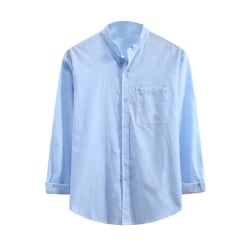 Men casual cotton and linen button top loose long sleeved shirt Light Blue,XL