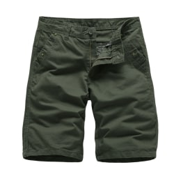 Men casual shorts simple pure cotton breathable sports pants Army Green,34