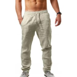 Men casual sports cotton linen pants breathable loose trousers Khaki,3XL