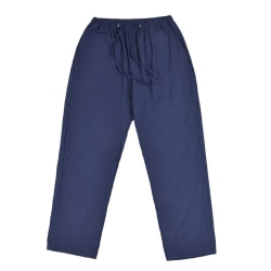 Men cotton linen pants drawstring loose pocket trousers Blue M
