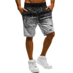 Men graffiti print sports shorts comfortable casual beach shorts Light Gray,M