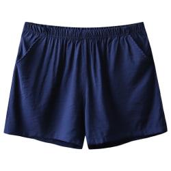 Men ice silk boxer shorts breathable pajamas underwear shorts Dark Blue,M