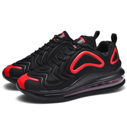 Men's Air Cushion Sneakers Athletic Running Lace Up Sports Shoes Black Red,41