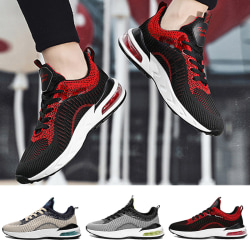 Men's breathable running shoes sports shoes casual shoes Black Red,39