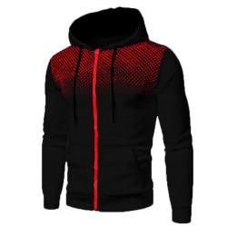 Men's casual hooded sweater sweatshirt long sleeve jacket black,M