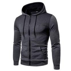 Men's casual hooded sweater sweatshirt long sleeve jacket Dark gray,M