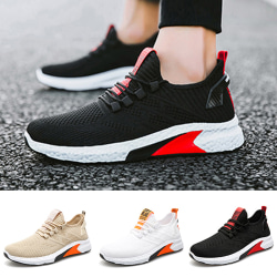 Men's fashion color matching casual shoes striped print sneakers Black,39