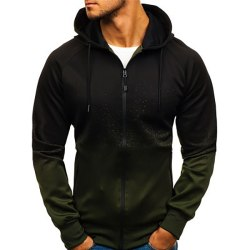 Men's gradient hoodie long sleeve coat jacket sports casual top Army green,3XL