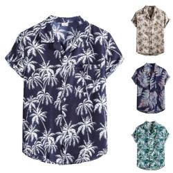 Men's Hawaiian Button T-shirt Tropical Beach Casual Shirt Silver,L