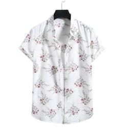 Men's Hawaiian Shirt Casual Floral Short Sleeve Vacation T-Shirt White,S