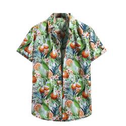 Men's Hawaiian Short Sleeve Shirt Top Summer Beach T-shirt White,L
