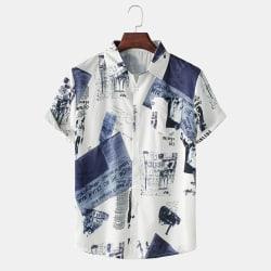 Men's Letter Print Casual Shirt Short Sleeve Loose Lapel Button White,3XL