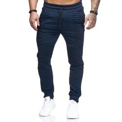 Men's loose jogger pants trousers running sweatpants Navy blue,M