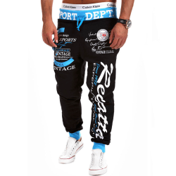 Men's loose sweatpants printed trousers jogging running pants Black-blue waist,3XL
