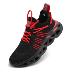 Men's Sneakers Walking Sports Running Trainers Shoes Breathable Black Red,38