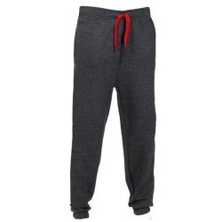 Men's solid color loose jogging sweatpants fitness casual pants Dark gray red,3XL