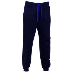 Men's solid color loose jogging sweatpants fitness casual pants Navy blue,XXL