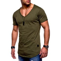 Men'S V-Neck Short Sleeve Tops Casual Blouse Pullover Tunic Army Green,XXL
