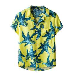 Men Short Sleeve Hawaiian T-Shirt Top Summer Beach Shirt Yellow,XXL