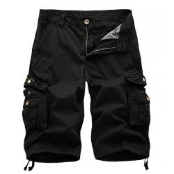 Men Solid Color Casual Workwear Shorts Large Pocket Beach Pants Black,30