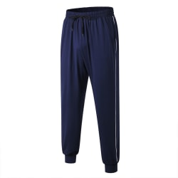 Men Sport Pants Trousers Tracksuit Fitness Workout Sweatpants Navy blue White,M