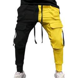 Men stitching colorful casual sports pants drawstring Black Yellow,3XL